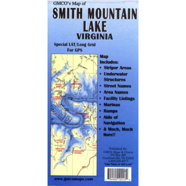 Smith Mountain Lake Laminated Gmco Maps